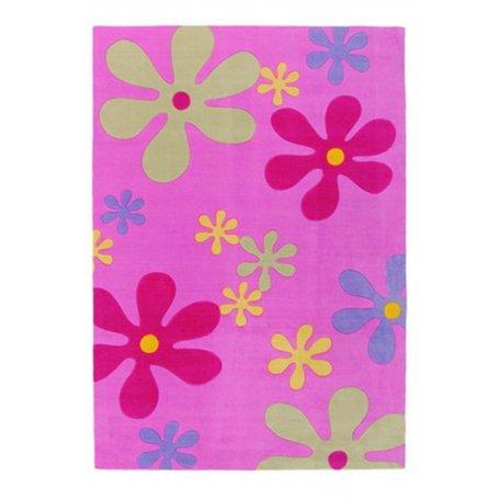 Hauska Flower Rosa, 70x140 lastenmatto turvallisella lateksi pohjalla puoleen hintaan. Paras lasten matto tarjous. Ilmainen toim
