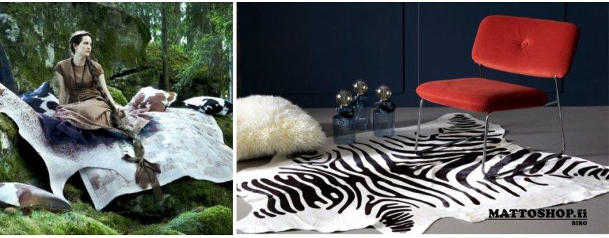 Lehmäntaljoja - häräntaljoja voit käyttää samoin kuin mattoja. Sijoita lehmäntalja kotona vaikkapa takkahuoneeseen, olohuoneeseen tai mökille. Talja näyttää upealta ja vanhenee arvokkaasti.